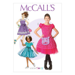 McCall's Children's/Girls' Dresses, Belt and Purse M7112 - Sewing Pattern