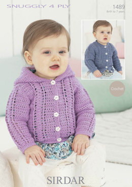Crochet Childrens Cardigan in Snuggly 4 Ply - 1489