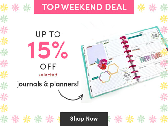 Up to 15 percent off journals & planners!