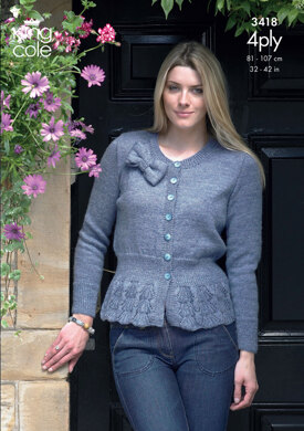 Cardigan & Sweater in King Cole 4 Ply - 3418