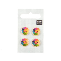 Rico Buttons With Colorful Sunflowers