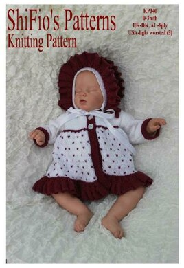 Knitting pattern baby jacket and hat  #340