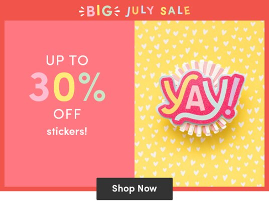 Up to 30 percent off stickers!