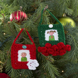 Festive Ornament Frames in Red Heart US - LW3198 - Downloadable PDF