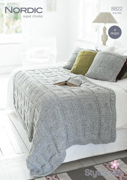 Throw and Cushions in Stylecraft Nordaic Super Chunky - 8822 - Downloadable PDF