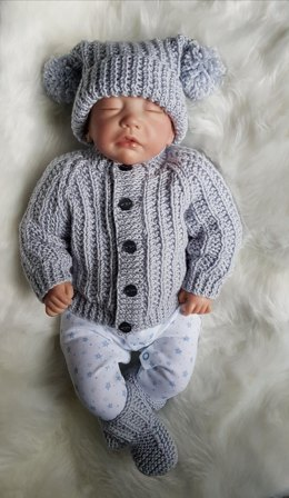 Jacob Baby Cardigan, Hat & Booties knitting pattern in 2 sizes 0-3mths & 6-12mths