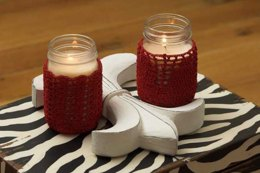 Candle Jar Covers in Plymouth Yarn Gold Rush - F540