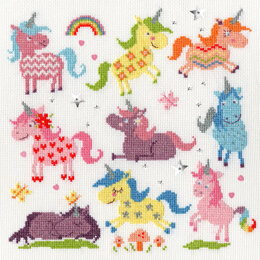 Bothy Threads Slightly Dotty Unicorns Cross Stitch Kit - 26cm x 26cm