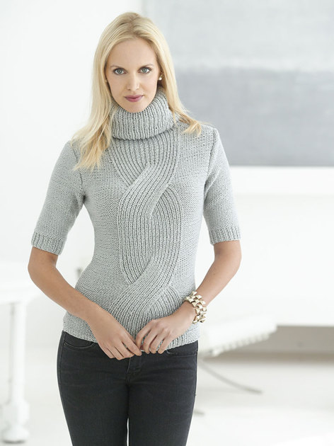 Fitted Cable Pullover in Lion Brand Vannas Glamour - L32179 Knitting P...