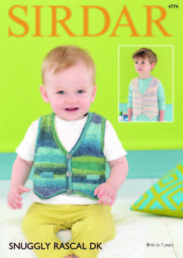 Plain and Textured Waistcoats in Sirdar Snuggly Rascal DK - 4774 - Downloadable PDF