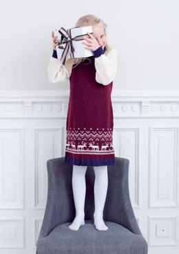 """Dansa Elk Dress"" - Dress Knitting Pattern For Girls in MillaMia Naturally Soft Merino"