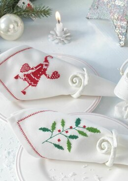 Enchanting Christmas - Napkins Sprig and Father Christmas in Anchor - Downloadable PDF