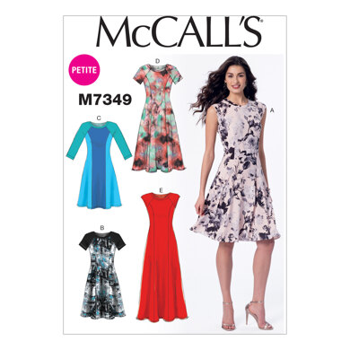 McCall's Misses'/Miss Petite Sleeveless or Raglan Sleeve, Fit and Flare Dresses M7349 - Sewing Pattern