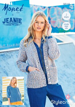 Sweater and Cardigan in Stylecraft Monet & Jeanie - 9618 - Downloadable PDF