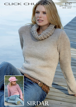 Cowl Neck and Round Neck Sweaters in Sirdar Click Chunky - 8747