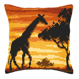 Vervaco Giraffe Sunset Cushion Front Chunky Cross Stitch Kit - 40cm x 40cm