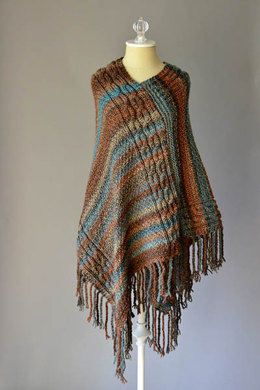 Double Cable Poncho in Universal Yarn Major - Downloadable PDF