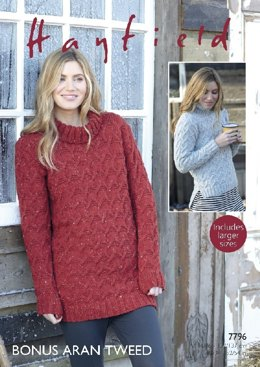 Sweater and Sweater Dress in Hayfield Bonus Aran Tweed with Wool - 7796- Downloadable PDF