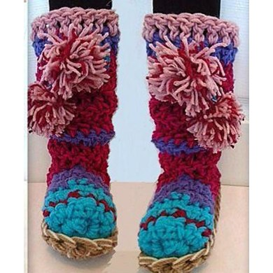 864- Multicolor Pinkish Boot Slippers