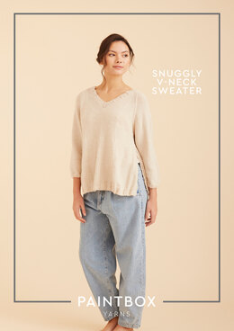 """Snuggly V-Neck Sweater"" - Free Sweater Knitting Pattern For Women in Paintbox Yarns Baby DK"