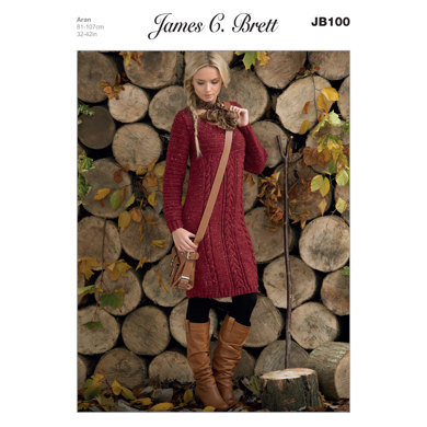 Ladies' Sweater Dress in James C. Brett Rustic with Wool Aran - JB100