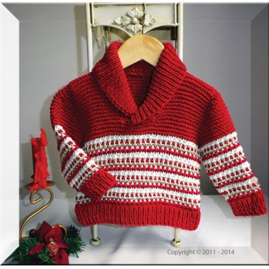 Christmas Colourwork Sweater with Shawl Collar