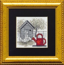 Permin Red Watering Can Cross Stitch Kit - 7cm x 7cm