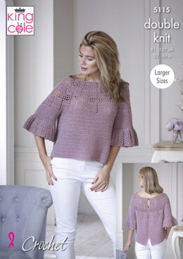Bell Sleeve & Short Sleeve Tops in King Cole Finesse Cotton Silk DK - 5115pdf - Downloadable PDF