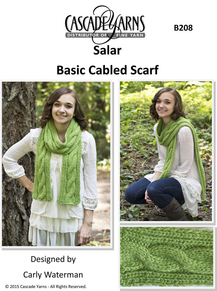 Basic Cabled Scarf In Cascade Salar B208 Knitting Patterns