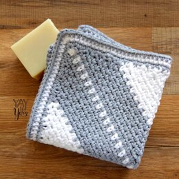 Corner to Corner Moss Stitch Washcloth