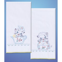 Tobin Stamped For Embroidery Kitchen Towels - Kittens