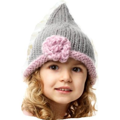 Pixie Hat With Flower Girl And Adult Sizes Knitting Pattern