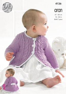 Baby's Coat and Cardigan in King Cole Big Value Pecycled Cotton Aran - 4136
