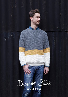 """Dave Jumper"" - Jumper Knitting Pattern For Men in Debbie Bliss Aymara - DB211"