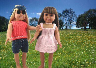 Summer Fun Wear, Knitting Patterns fit American Girl and other 18-Inch Dolls