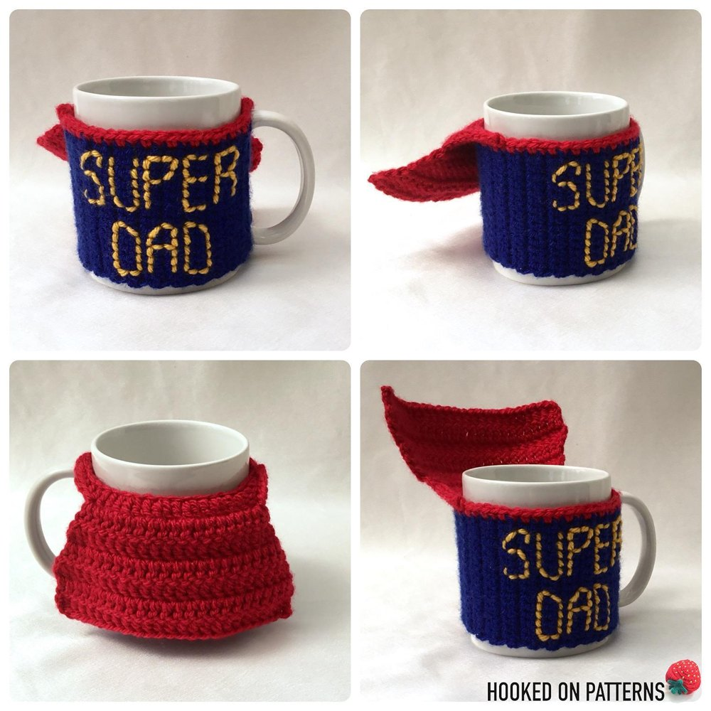 Super Dad Mug Cosy Crochet Pattern By Hooked On Patterns