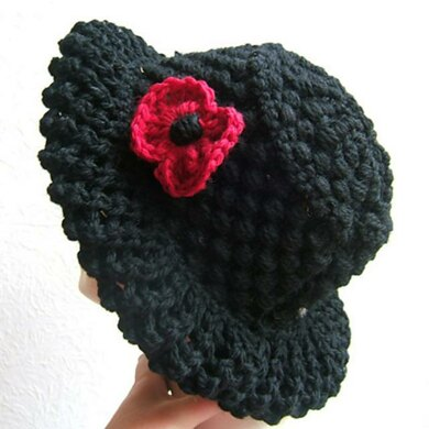 Eco Knit Poppy Hat with Wide Lace Brim with Fingerless Mittens
