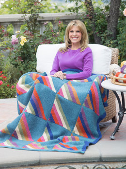 Diagonal Squares Afghan in Lion Brand Vanna's Choice