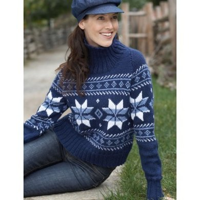 Snowflake Sweaters In Bernat Satin Knitting Patterns Loveknitting
