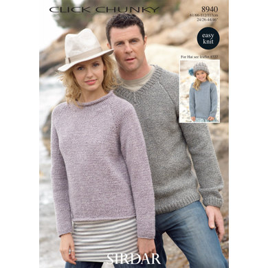Round Neck and V Neck Sweaters in Sirdar Click Chunky - 8940 - Downloadable PDF