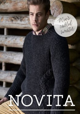 52dcd25d4776 Men s Cabled Sweater in Novita Natura - Downloadable PDF