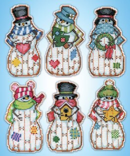 Design Works Country Snowmen Ornaments Counted Cross Stitch Kit