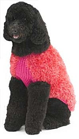 Knit Dog Fur Coat in Lion Brand Fun Fur and Wool-Ease