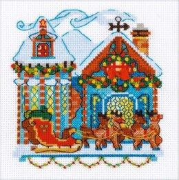 Riolis Cabin with Sleigh Cross Stitch Kit