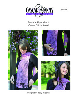 Cluster Stitch Shawl in Cascade Yarns Alpaca Lace - FW108 - Downloadable PDF