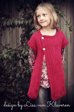 Girls Simple Cable Cardigan