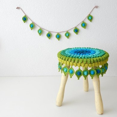 Peacock Feather Stool Cover and Garland