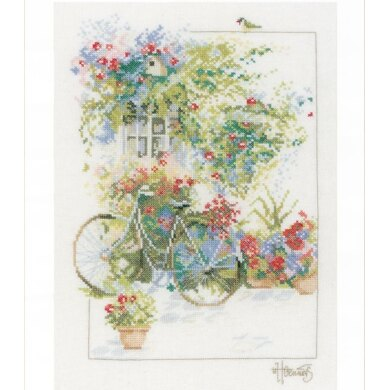 Lanarte Flowers and Bicycles Cross Stitch Kit