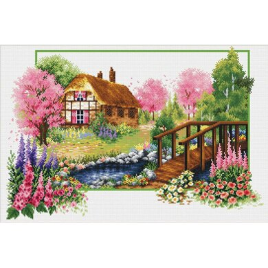 Needleart World Spring Cottage No-Count Cross Stitch Kit