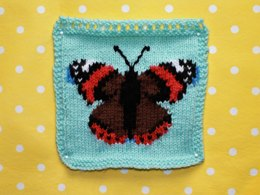 Red Admiral Butterfly Intarsia Square